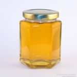 12ox hex jar with clear (runny) honey. The Apiarist