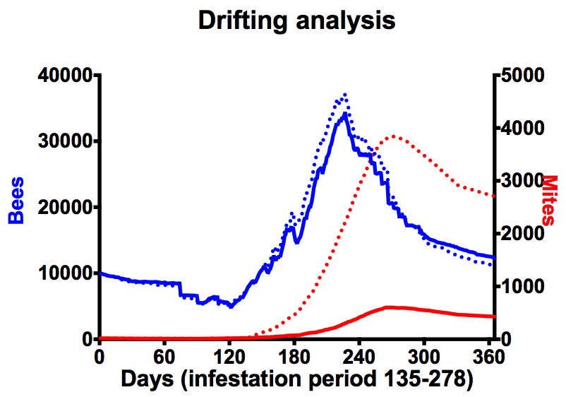 The impact of drifting and mite reinfestation