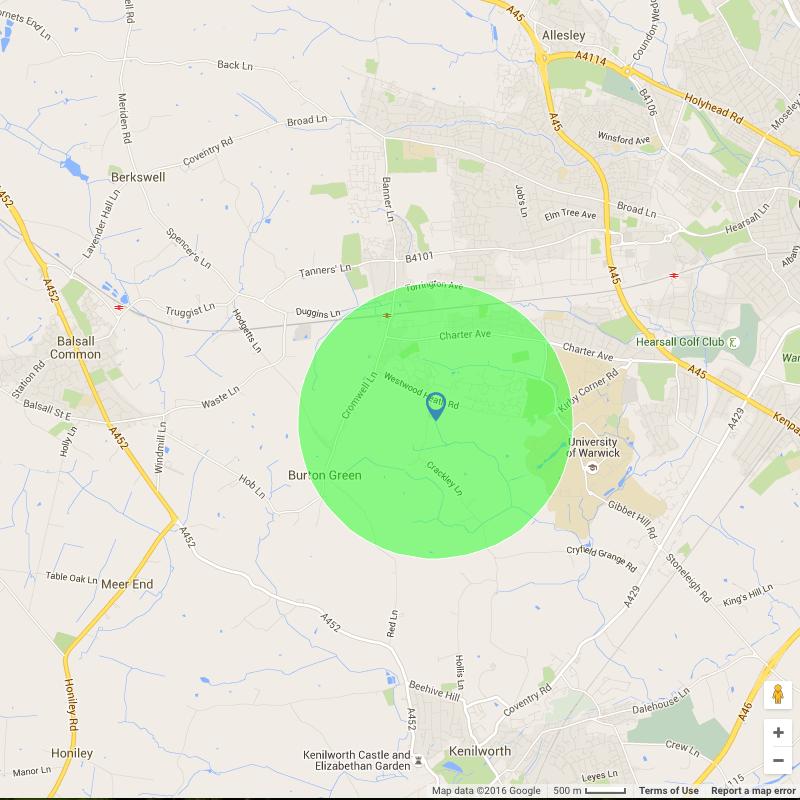 One mile radius ...