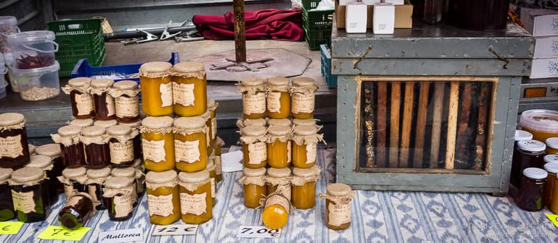 Mallorcan market honey and observation hive
