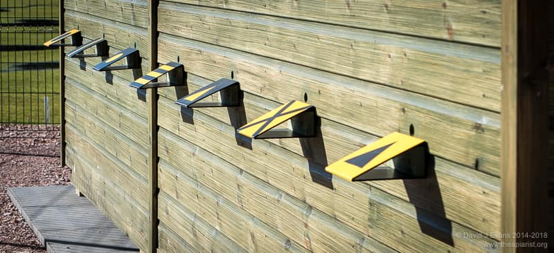 Landing boards on a bee shed