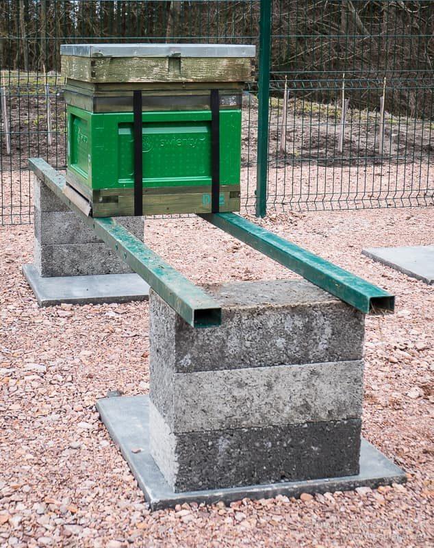Breeze blocks and metal rails