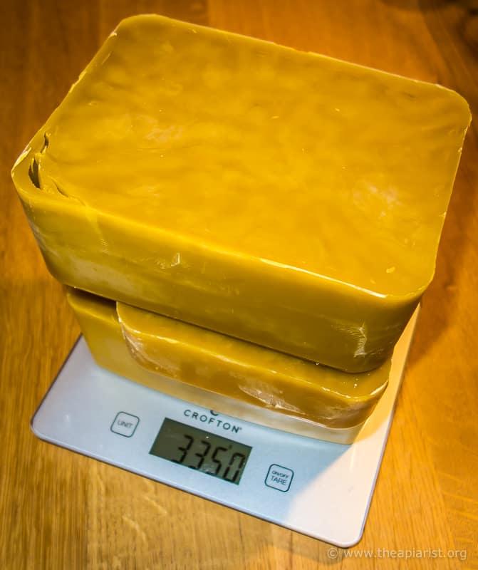 Processed wax blocks