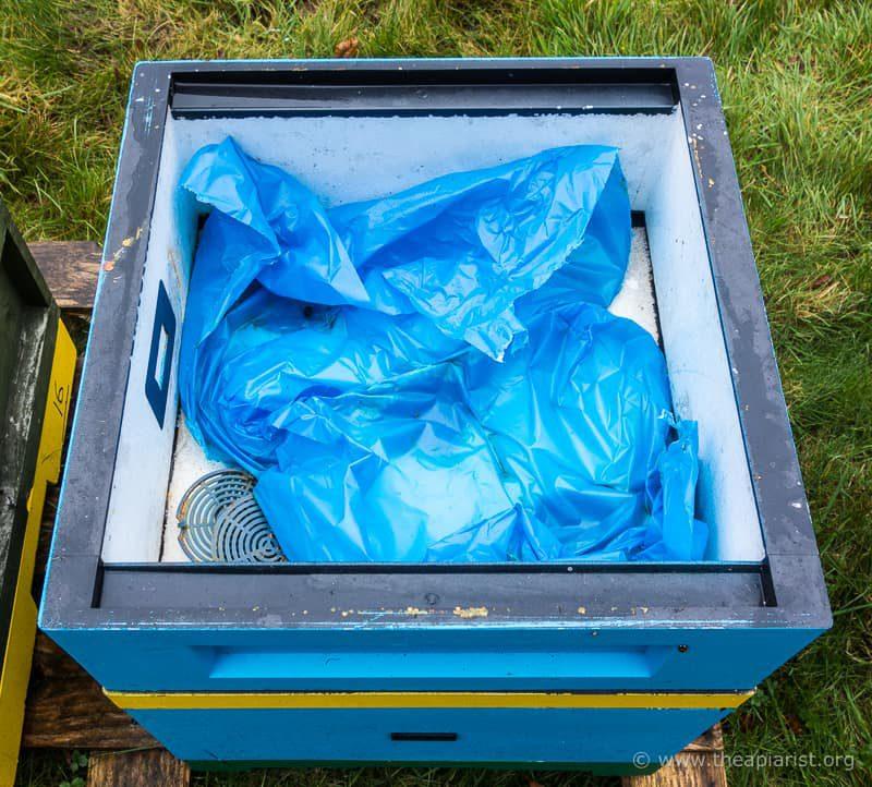 Emptied bag of fondant
